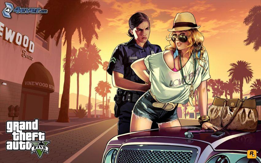 GTA 5, kvinnopolis, kriminell, polis