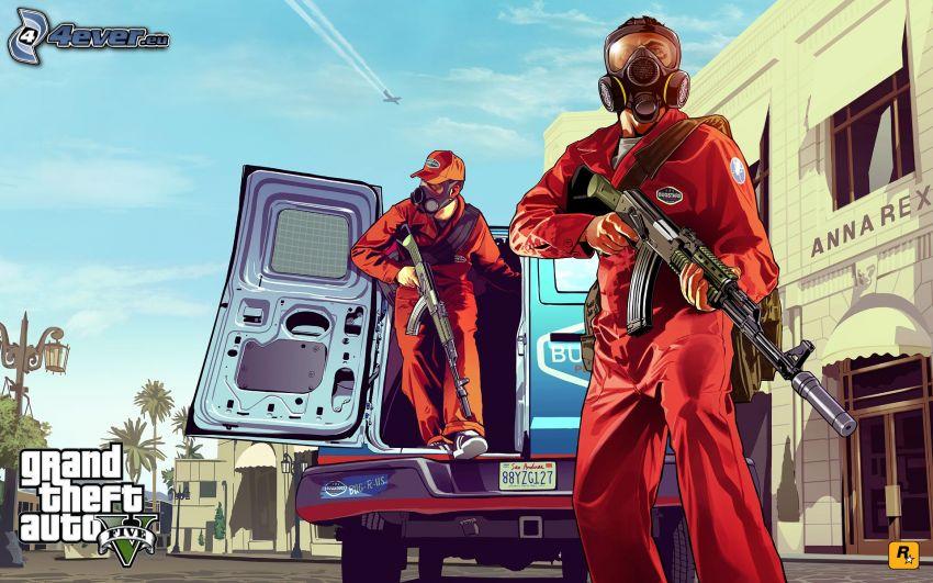 GTA 5, man med vapen