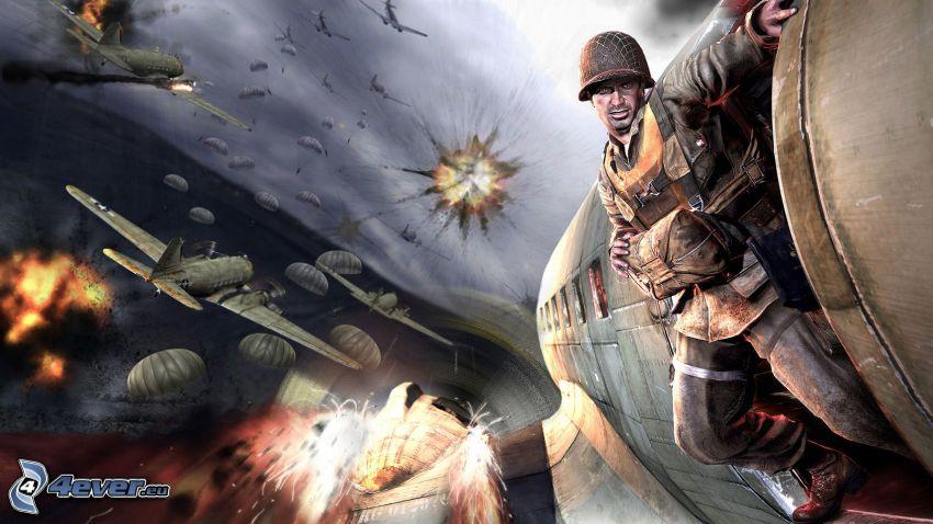 Medal of Honor, fallskärmshoppare, soldat, flygplan, explosion