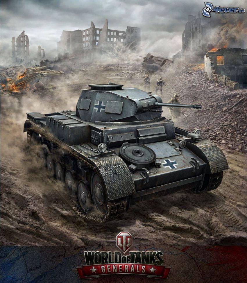 Panzer III, Wehrmacht, World of Tanks, förstörd stad