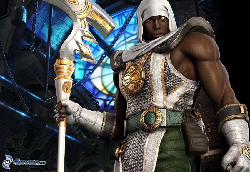 Soul Calibur 3, fantasy krigare, mörkhyad man