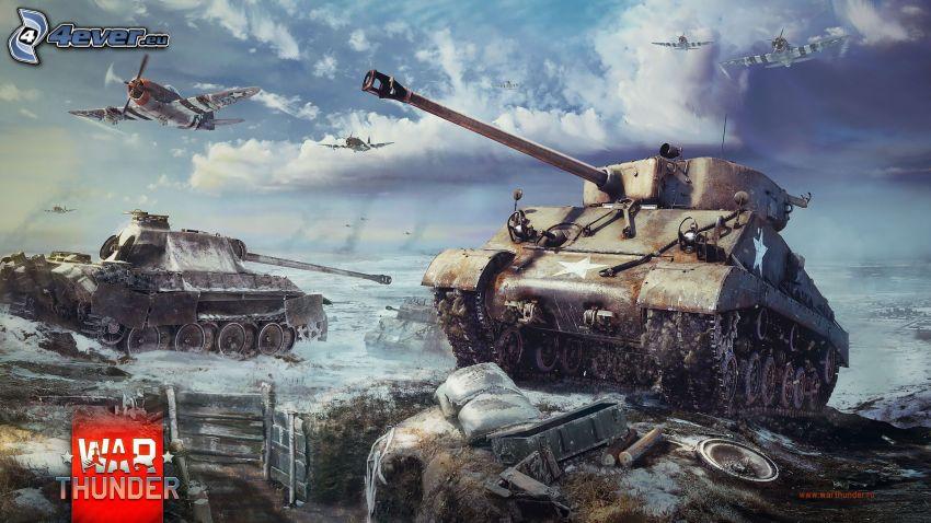 War Thunder, tankar, flygplan, hav