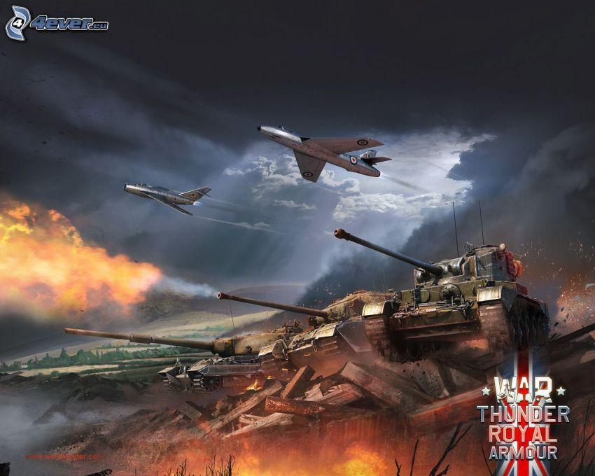 War Thunder, tankar, flygplan, skytte