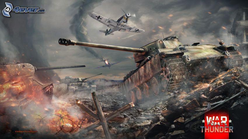 War Thunder, tankar, flygplan, slagsmål