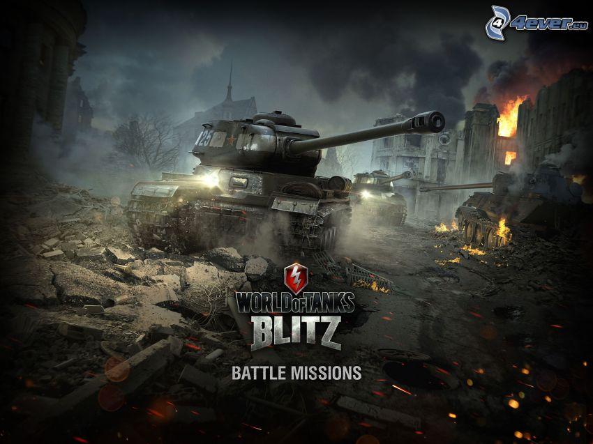 World of Tanks, förstörd stad, eld