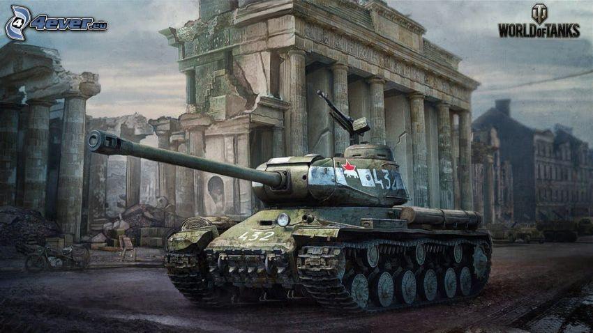 World of Tanks, förstörd stad, tank