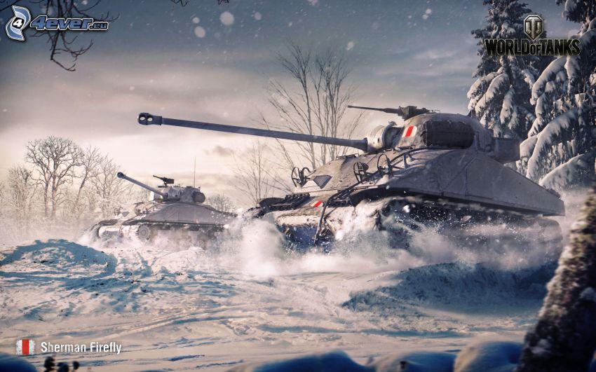 World of Tanks, M4 Sherman, tank, snö