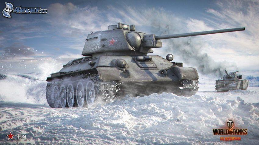 World of Tanks, T-34, tankar, snö