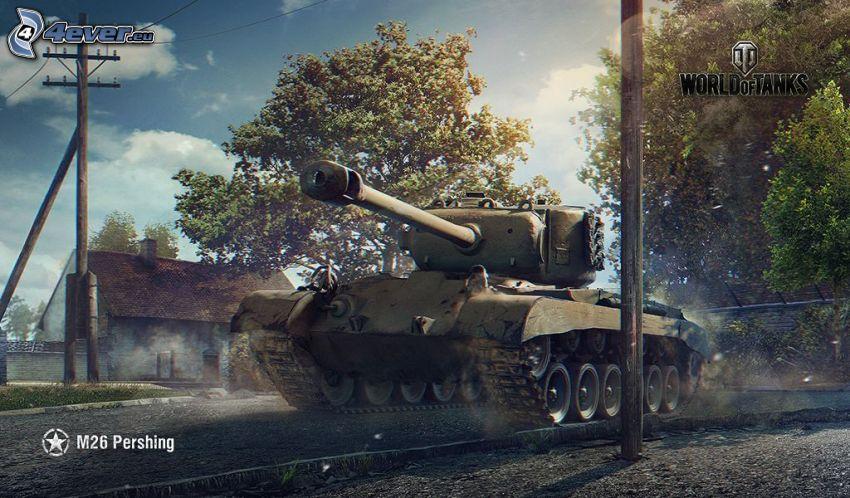 World of Tanks, tank, träd, elledningar