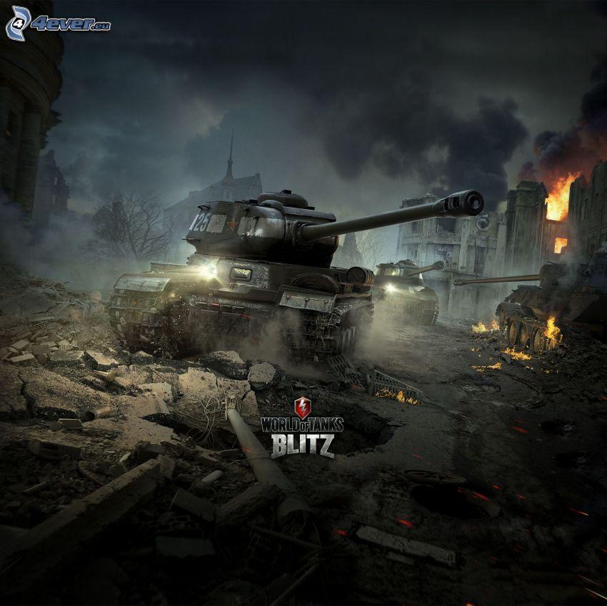 World of Tanks, tankar, förstörd stad, eld
