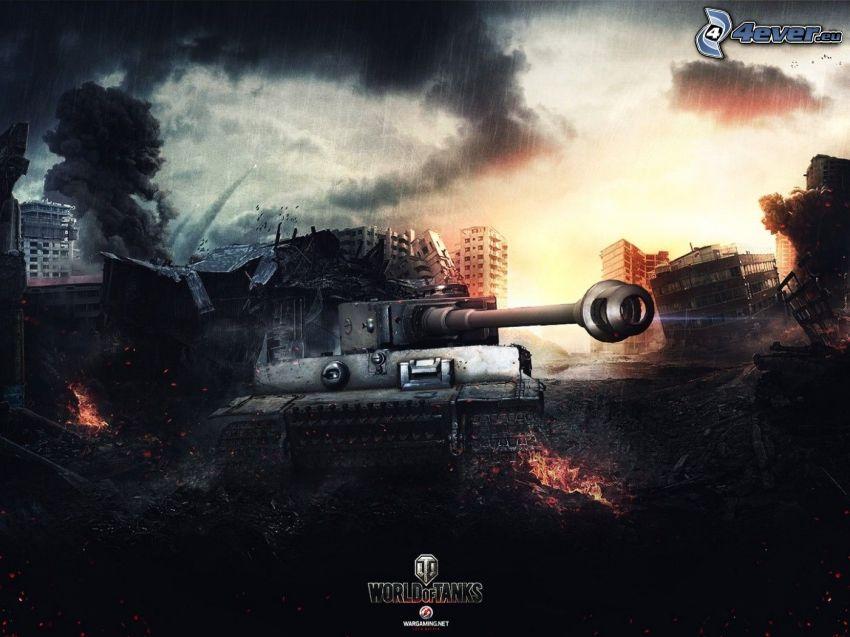 World of Tanks, Tiger, tank, förstörd stad, regn