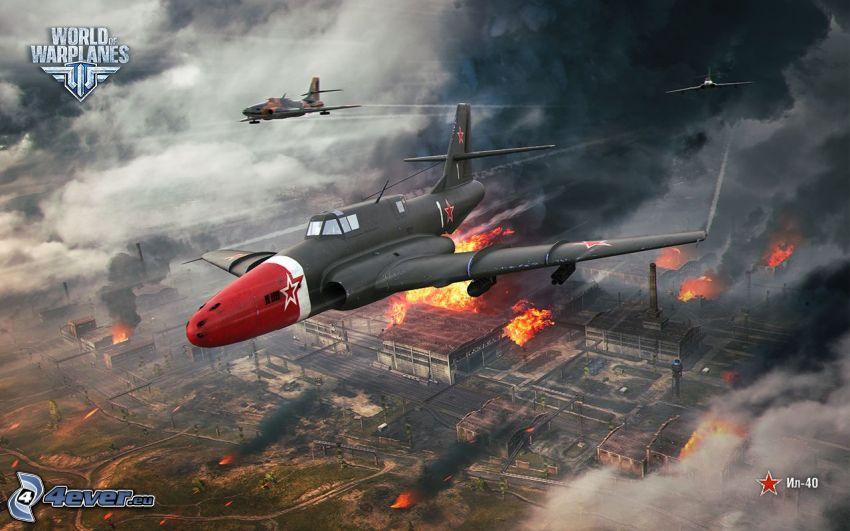 World of warplanes, flygplan, förstörd stad