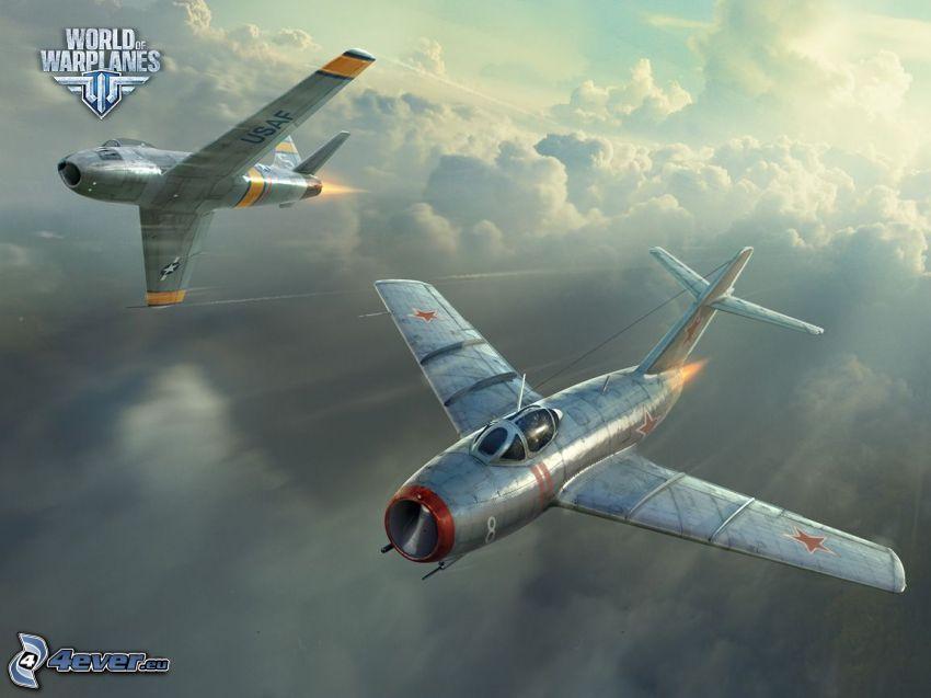 World of warplanes, flygplan, ovanför molnen, fart