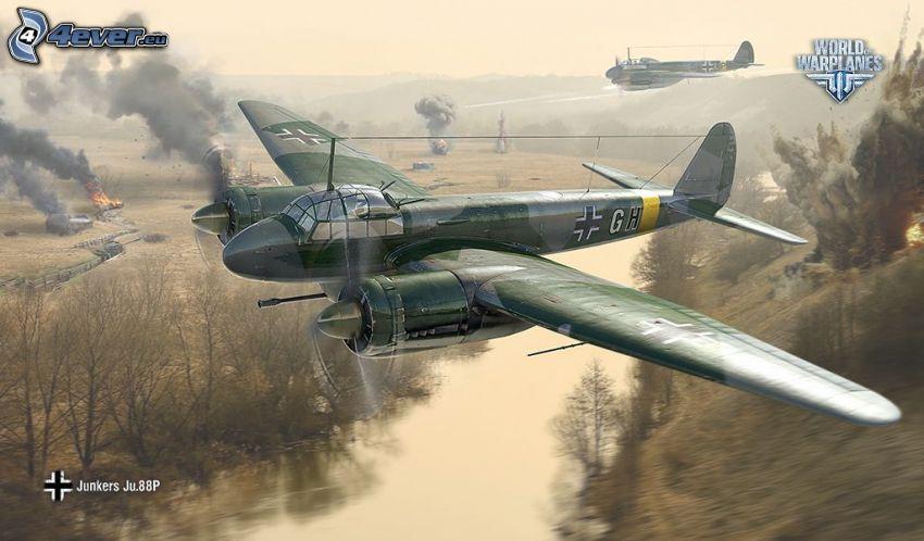 World of warplanes, flygplan, slagsmål, flod