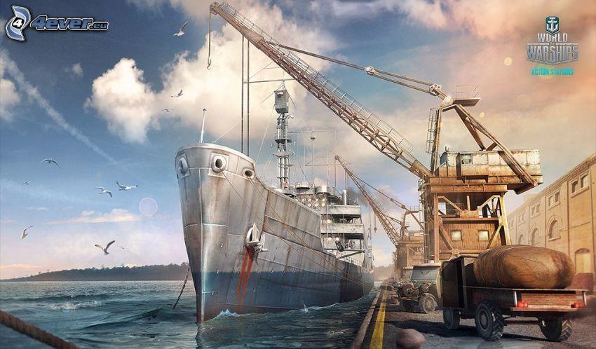 World of Warships, båt, hamn