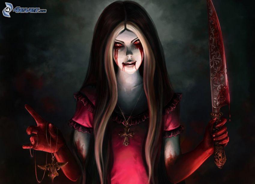 Alice: Madness Returns, blodiga ögon, dolk