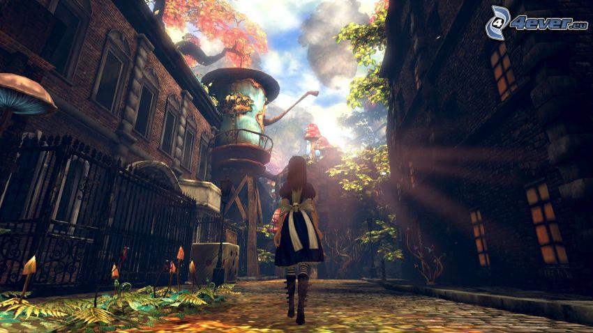 Alice Madness Returns, tecknad flicka, stad