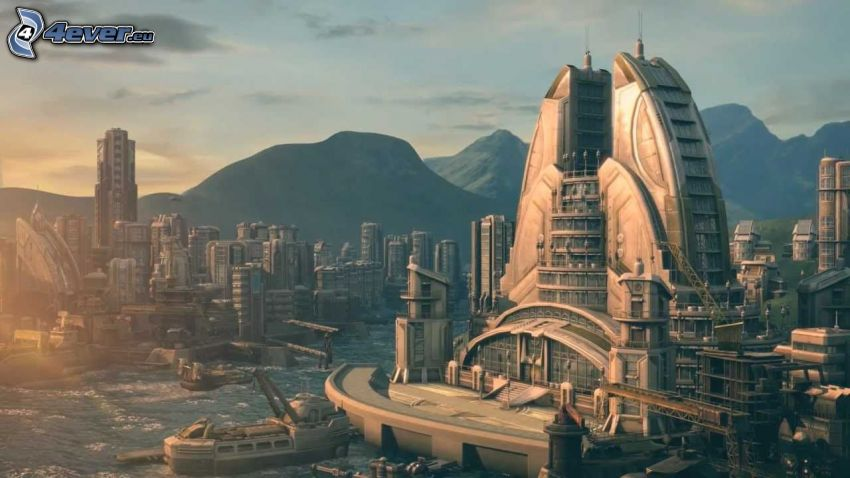 Anno 2070, science fiction-stad, berg