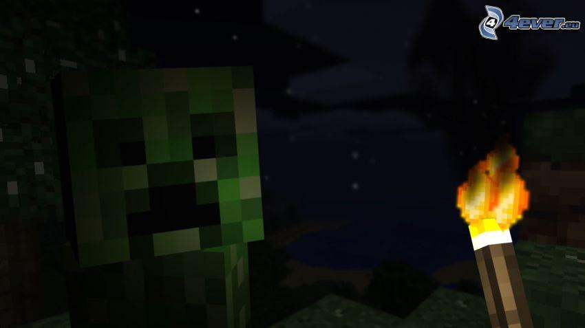Creeper, Minecraft, fackla