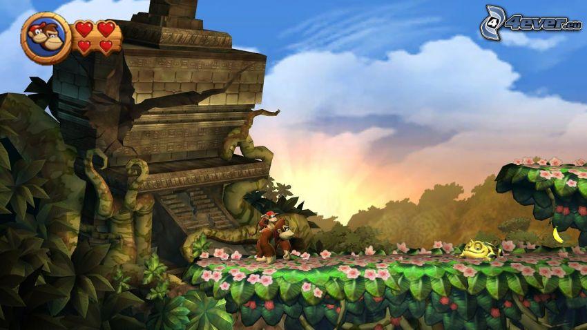 Donkey Kong Country Returns, gorilla, gammal byggnad