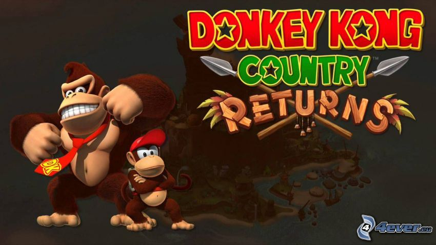 Donkey Kong Country Returns, gorillor, leende, slips