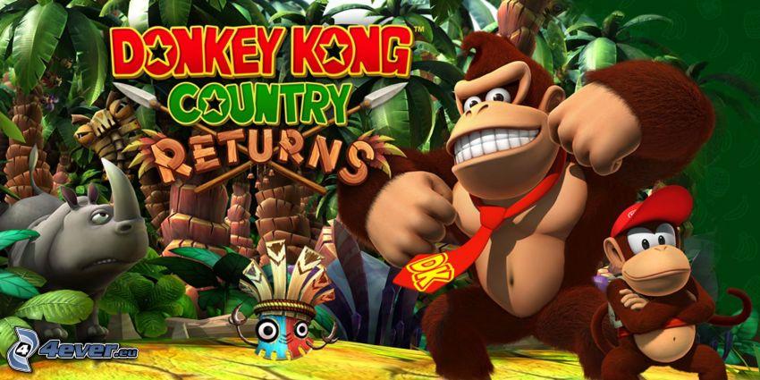 Donkey Kong Country Returns, gorillor, noshörning