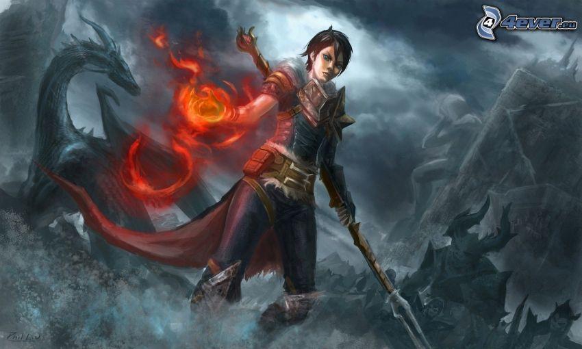 Dragon Age: Origins, fantasy krigerska, svart drake
