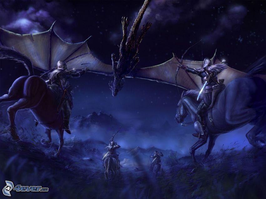 Dragon Knights, ryttare, tecknad drake