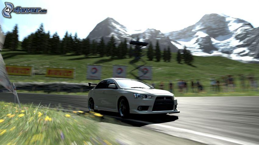 Gran Turismo 5, Mitsubishi, kurva, fart, berg