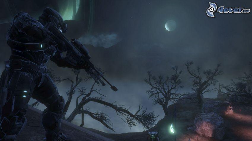 Halo: Reach, sci-fi soldat, natt