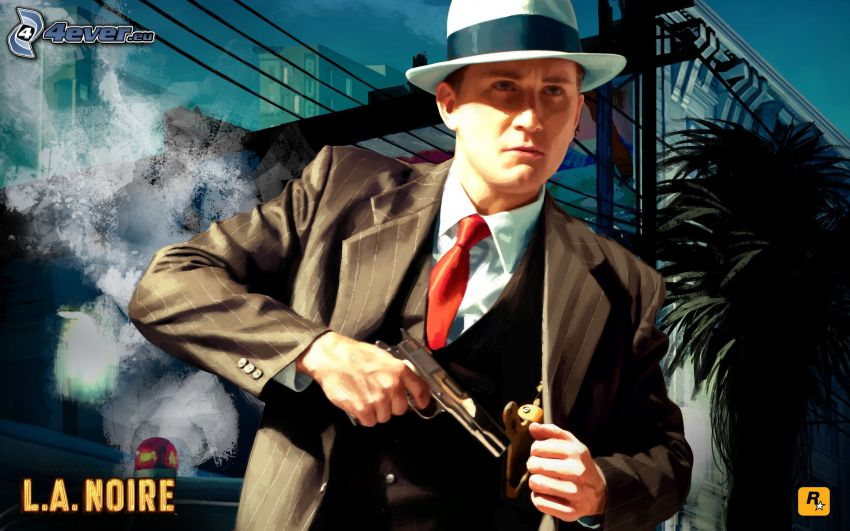 L.A. Noire, man med vapen, man i kostym