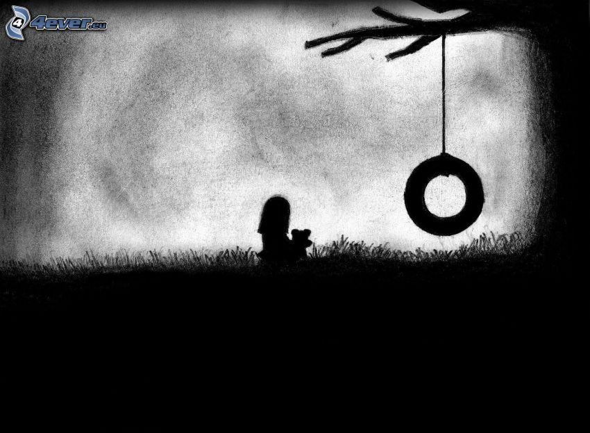 Limbo, silhuett av flicka, gunga