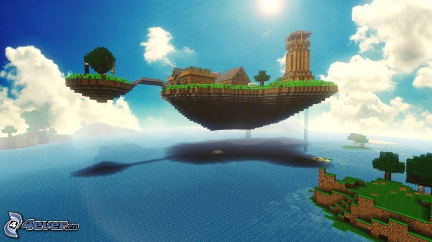 Minecraft, flygande ö
