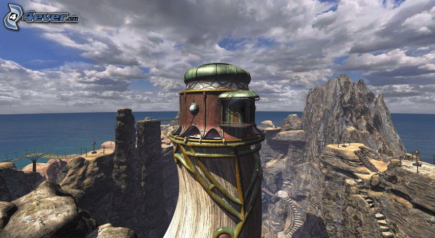 Myst, byggnad, klippor, hav