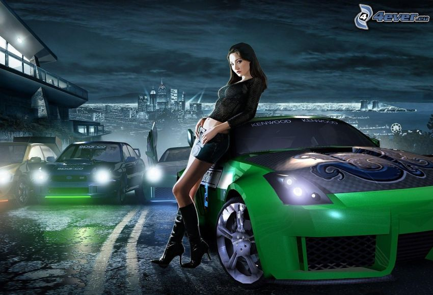 Need For Speed, smal sexig brunett, racerbil, natt