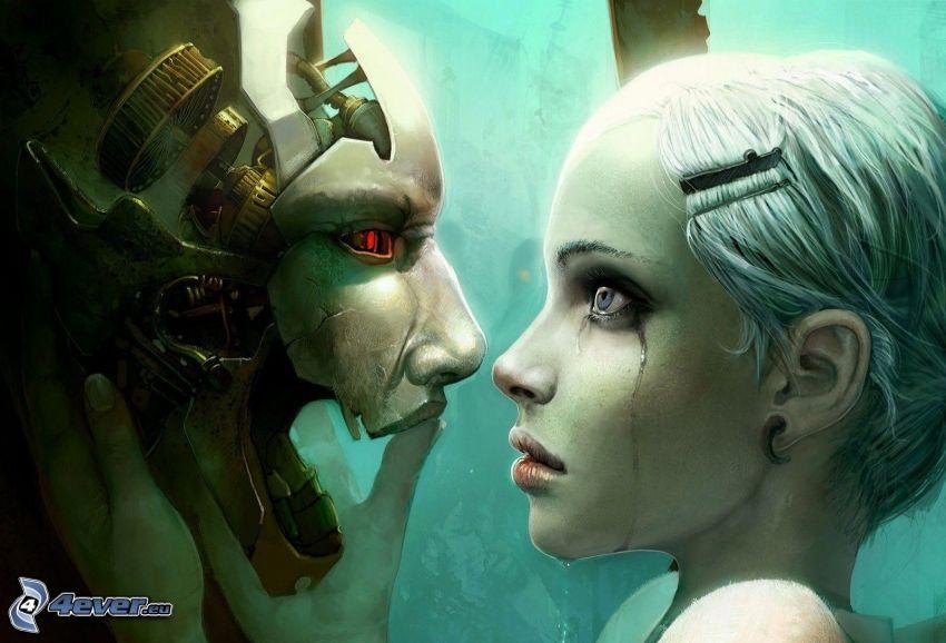 PC spel, ledsen flicka, mask