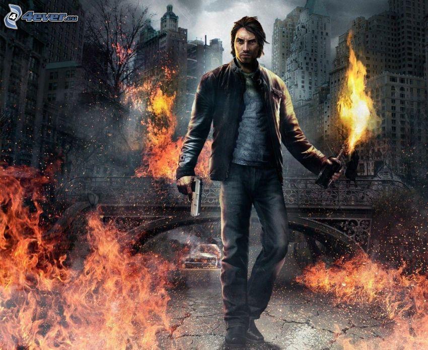 PC spel, man med vapen, eldkastare, flammor