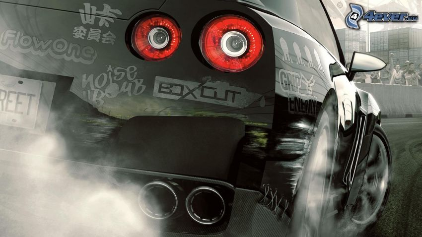 PC spel, tecknad bil, avgasrör
