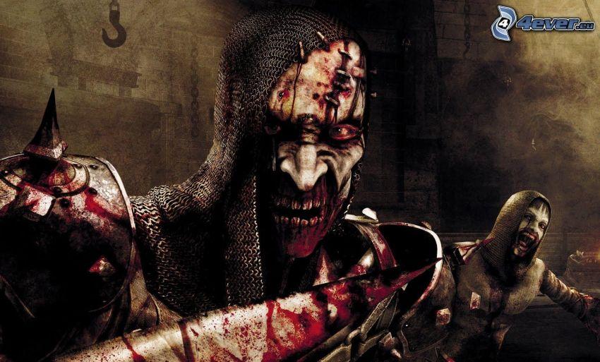 PC spel, zombie, blod, svärd