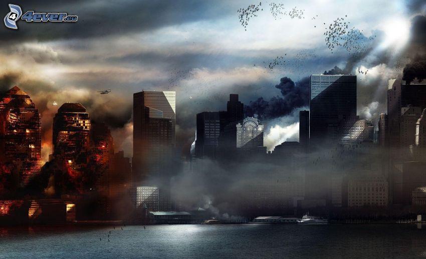 Prototype 2, skyskrapor, explosion, postapokalyptisk stad