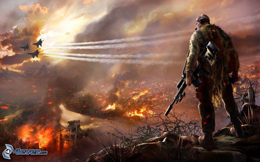 Sniper: Ghost Warrior 2, soldat med en pistol, jaktplan, postapokalyptisk stad, eld