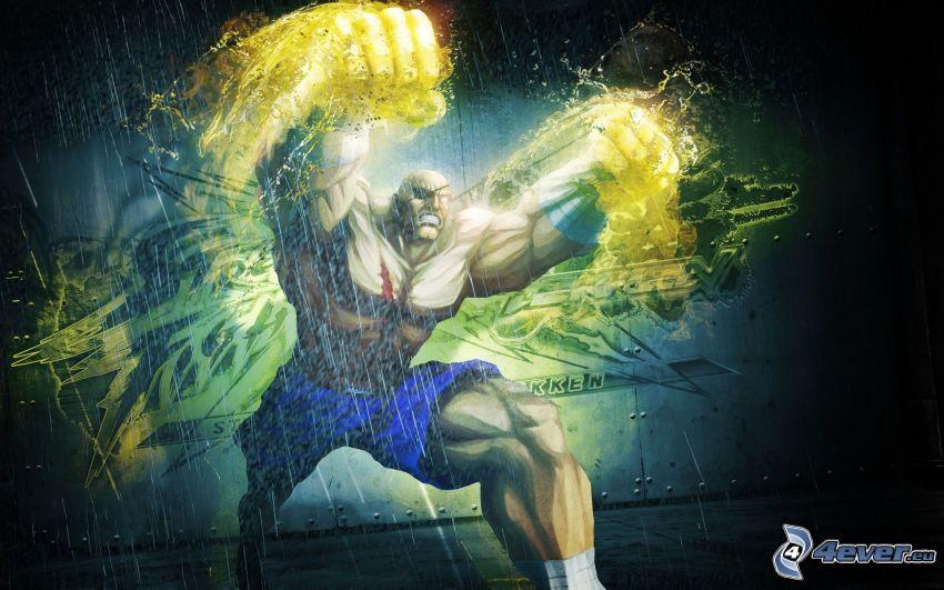 Street fighter, muskulös man