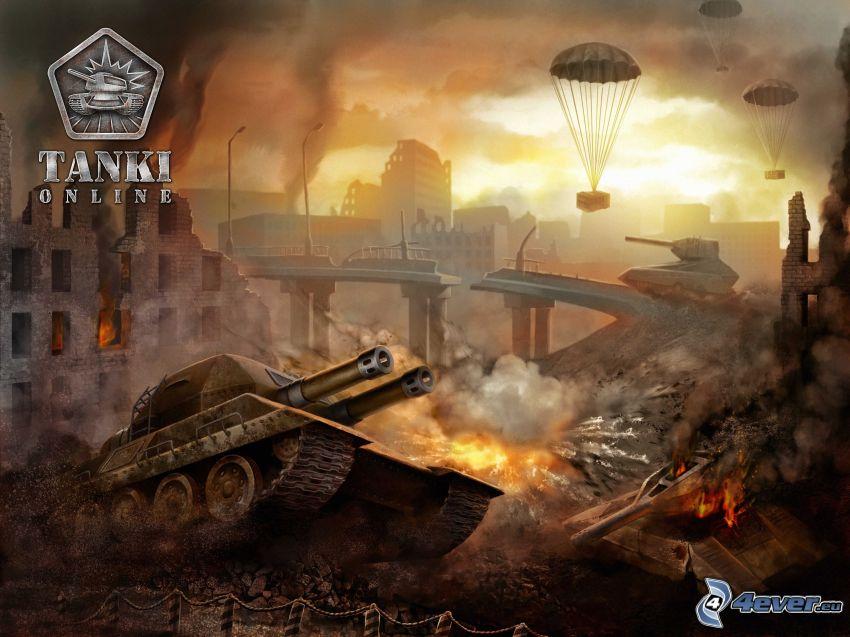 tankar, postapokalyptisk stad