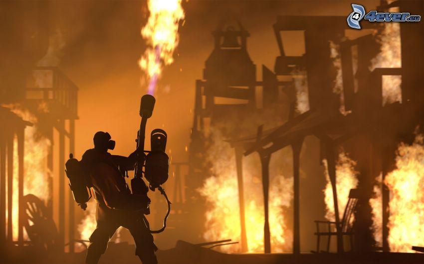 Team Fortress, brand, flammor