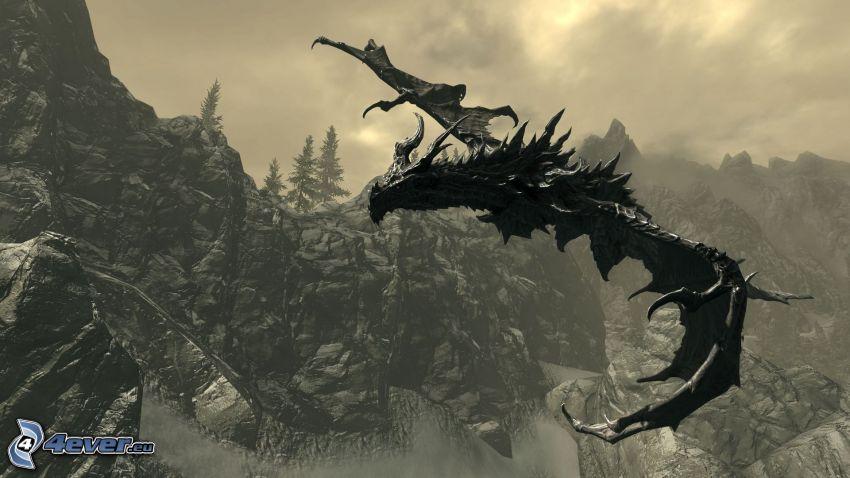 The Elder Scrolls Skyrim, flygande drake, svart drake
