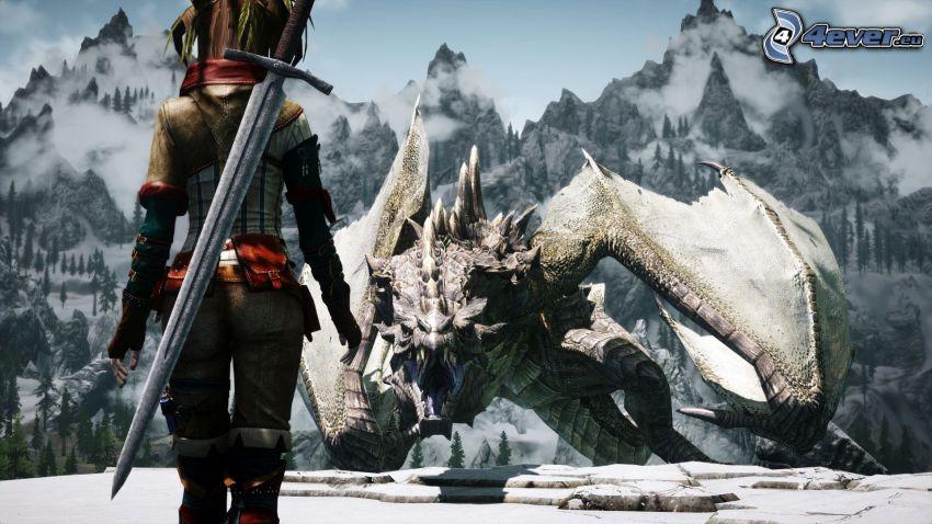 The Elder Scrolls Skyrim, kämperska, drake