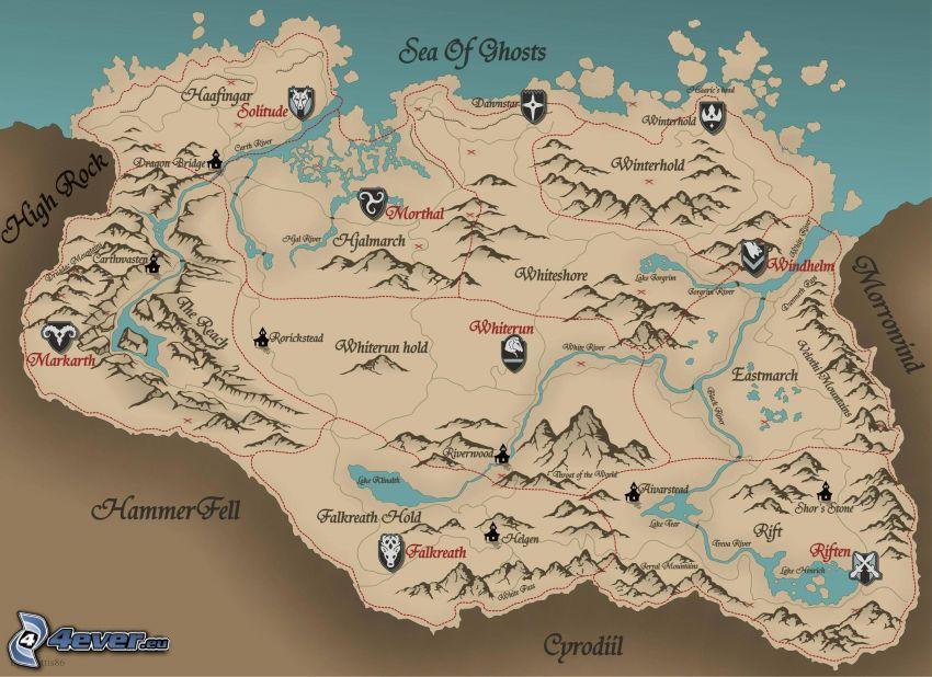 The Elder Scrolls Skyrim, karta