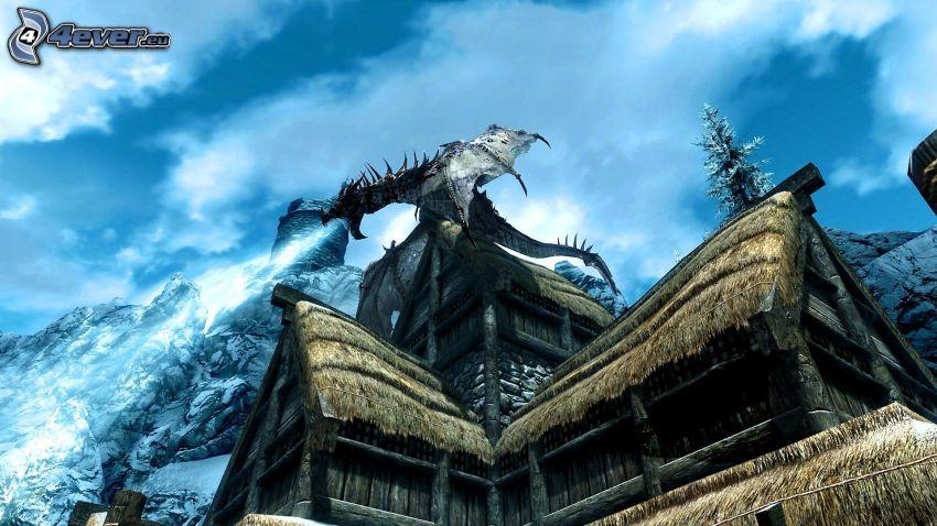 The Elder Scrolls Skyrim, svart drake, stuga