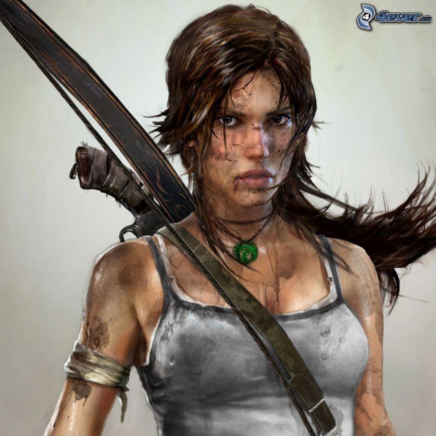 Tomb Raider, Lara Croft, kvinna med svärd