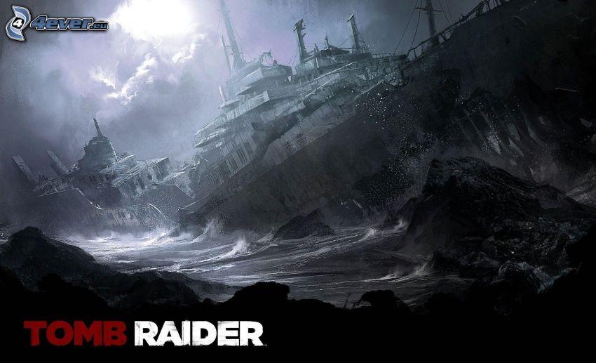 Tomb Raider, skeppsbrott, stormigt hav